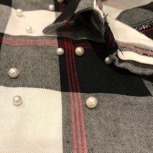 Zara Tops - Zara Plaid Button Down with Pearl Detail